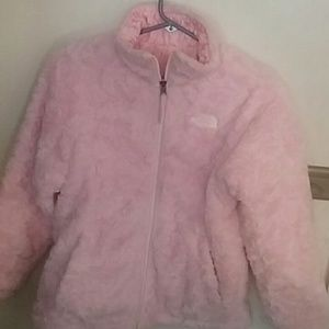 Girls Purdy pink swirl reversible winter coat.